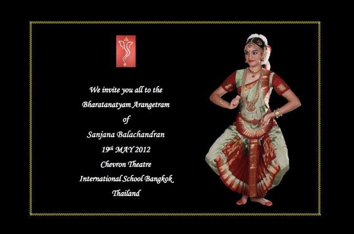 Arangetram Announcement : Kum  Sanjana Balachandran, Bangkok, 19th