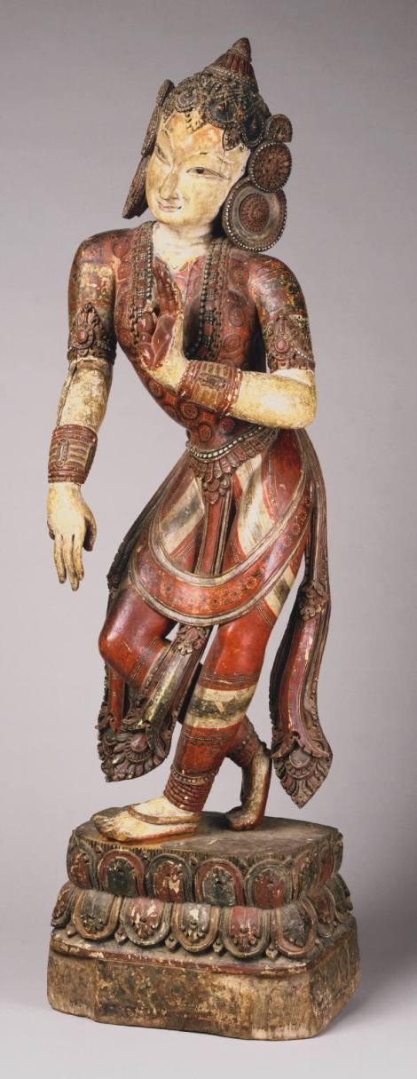 Nrtyadevi, Goddess of Dance Mid- 15th century Nepal, probably Bhaktapur, Newar culture Wood with polychrome decoration 43 1/2 x 12 1/2 x 9 inches (110.5 x 31.8 x 22.9 cm)