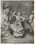 """""""Nautch dancer,"""" print dated 1888, from a travel book (?)"""