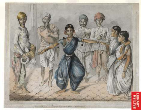 Dancing girls and musicians from Madras, a drawing by Christopher Green, c.1800 (Representation of the Dancing Girls on the Coast of Coromandel, Christopher Green (c. 1745–1805) Copyright The British Library Board WD 4510)