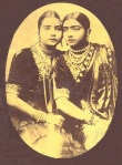 A photograph of two dancing girls, by K. L. Brajbasi & Co., Patna, c.1910's