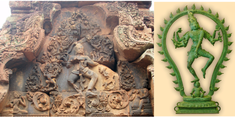 Chatura Tandava - Bantey Srei and bronze sculpture. Note the same pose in both sculptures, also Karaikal Ammaiyar and the drum beating Gana in the Bantey Srei sculpture (Image courtesy: Wiki)