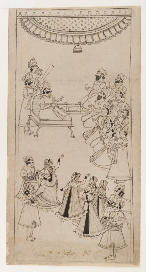 Raja Enthroned with Courtiers, Musicians, and Nautch Girls in Attendance, ca. 1750. Ink with gray wash on paper, sheet: 17 1/4 x 8 7/8 in. (43.8 x 22.5 cm). Brooklyn Museum. Image reproduced under Creative Commons License. URL: http://goo.gl/K17aCy