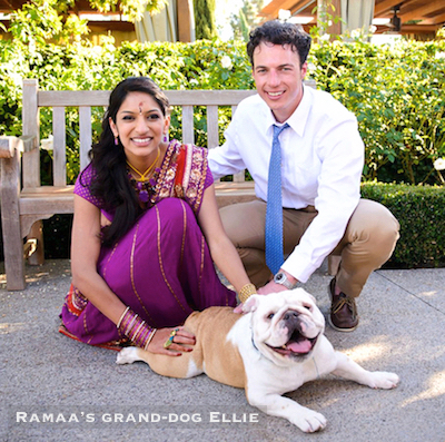 Ramaa's family - grand-dog Ellie with daughter Swetha, son-in-law Zach