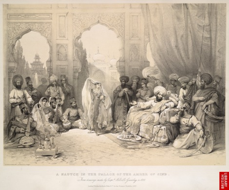 A Nautch in the Palace of the Ameer of Sind, 1808. Image Courtesy: British Library