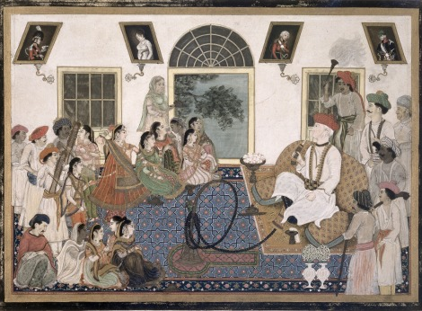 A European, probably Sir David Ochterlony (1758-1825), in Indian dress, smoking a hookah and watching a nautch in his house at Delhi. 1820. Image courtesy: British Library