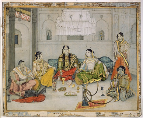 Group of Nautch Girls, Opaque watercolor and gold on paper, 1920's. Image Courtesy: Asian Curator at the San Diego Museum of Art