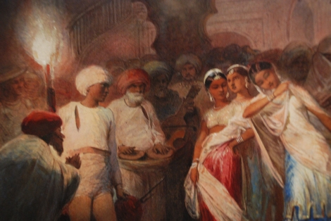 "Detail from ""Nautch Entertainment by Man Singh in Honor of Lord Clyde, the Commander in Chief"", by Egron Lundgren, 1859. Image courtesy: Jean-Francois Chenler"
