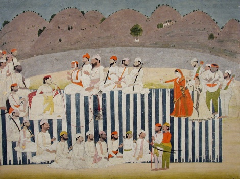 The son of Bahadur Singh watches a nautch, 1800. Image Courtesy: Asian Curator at the San Diego Museum of Art